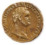 Sesterzio di Domiziano, logo della mostra.
